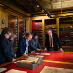 Actor Michael Jibson viewing Georgian Papers materials with partners from the GPP