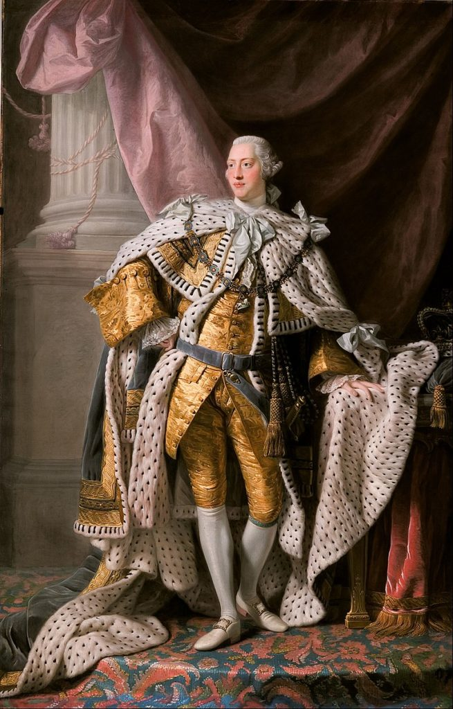George III in Coronation Robes, by Allan Ramsay, c. 1761-1762. The King's robes are sumptuous, made of cloth of gold and ermine.