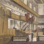 This is a watercolor image of the interior of the Chapel Royal at Whitehall c. 1811. The Chapel Royal at Whitehall was in the former Banqueting House, which was renovated by Sir Christopher Wren after the a 1698 fire. Image courtesy of the British Library.