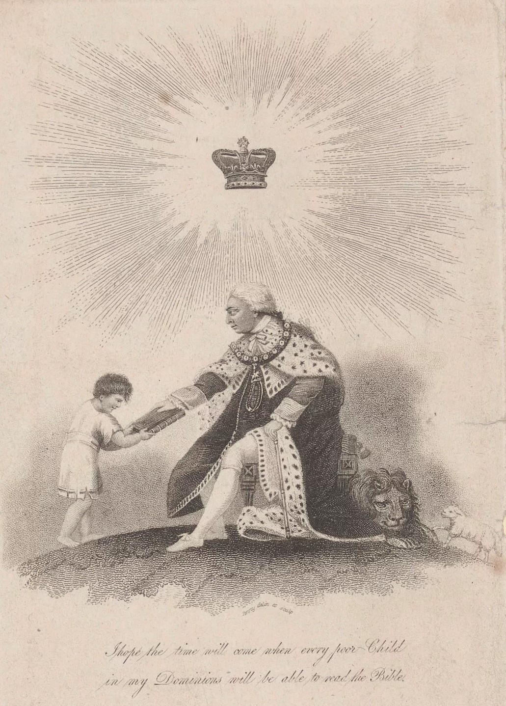 Etching of George III as king with crown hovering above his head and emitting rays of light
