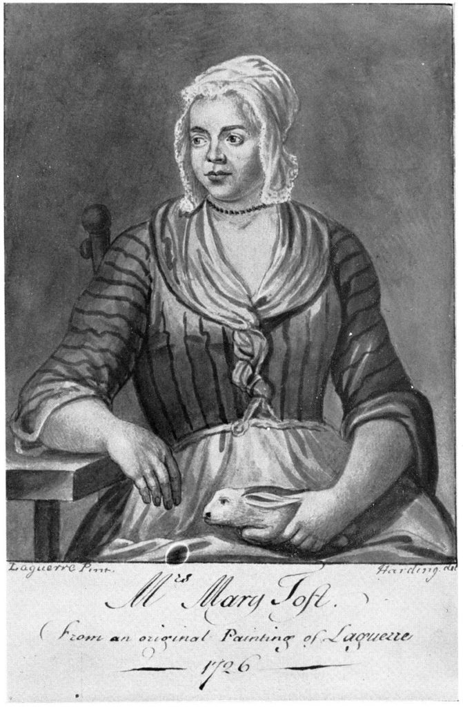 Mary Toft, in an engraving based on a 1726 painting by John Laguerre.