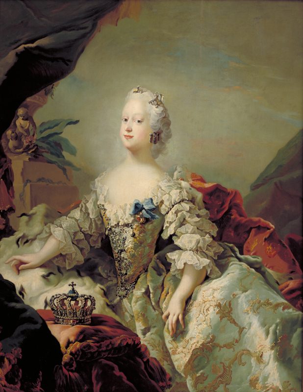 Portrait of a woman in a white dress with panniers and white wig.