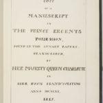 Titlepage of Charlotte's transcription of Stuart documents