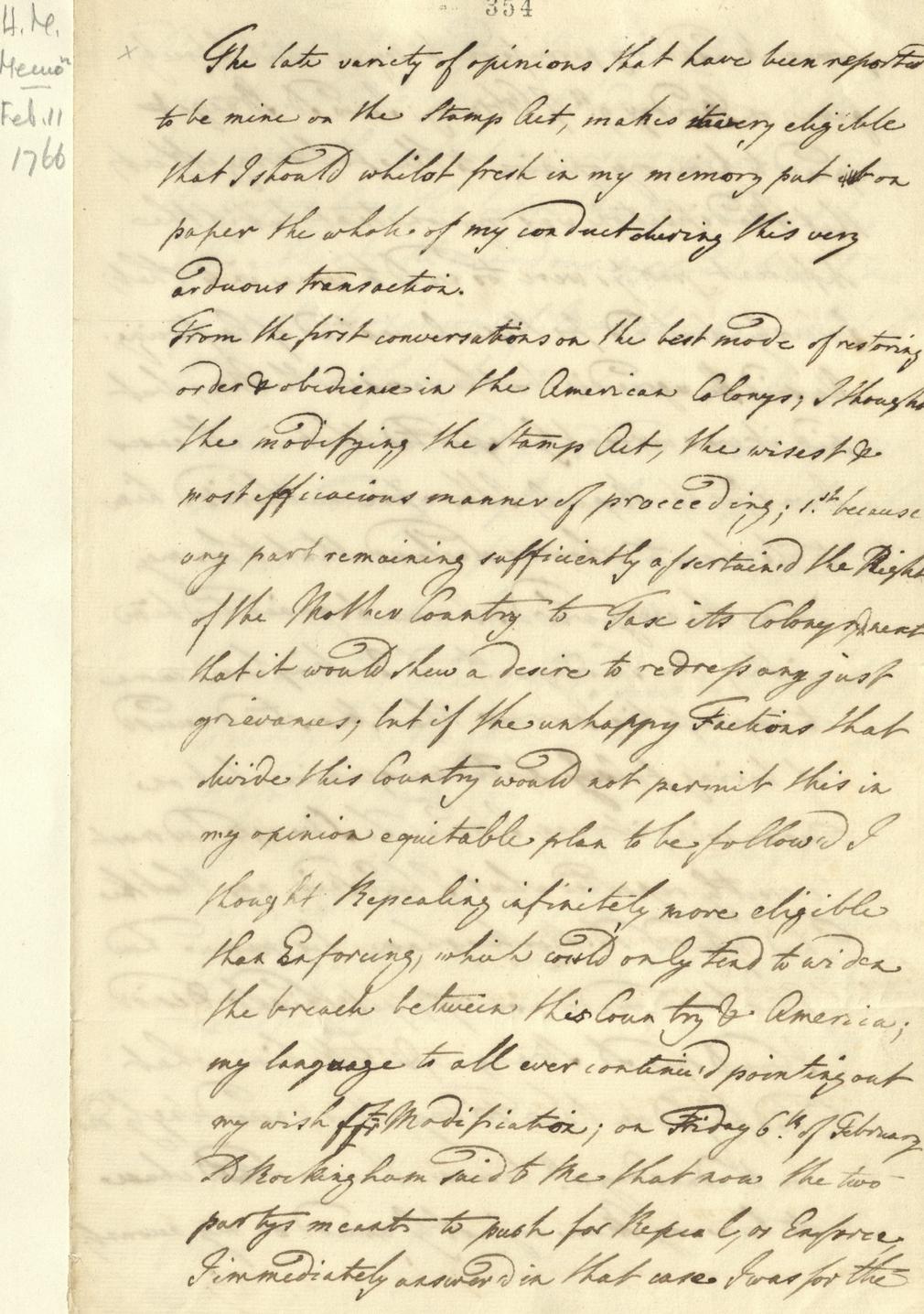 Written memorandum by George III