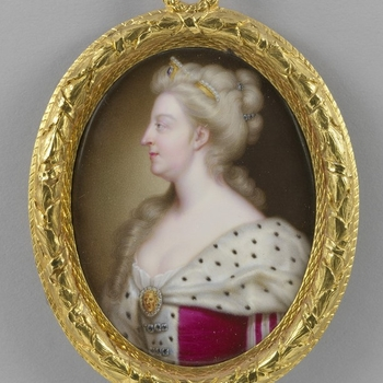Round framed portrait of Queen Caroline