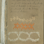 Decoupage page numbered 1, with an inscription inside the album by Queen Charlotte records how the work was gifted to her by Mary Delany