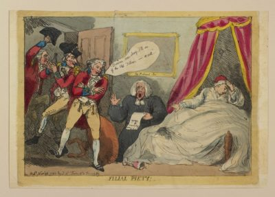 The only known satirical cartoon depicting the King during his illness of 1788-9