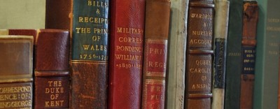 Book spines of various 18th century texts