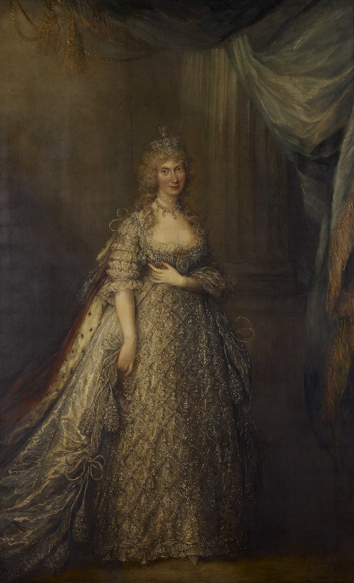 Portrait of Caroline of Brunswick, Princess of Wales, in golden dress with royal red cloak