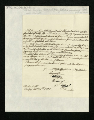 Letter from Princesses Augusta, Elizabeth, Mary, Sophia, and Amelia to Lady Charlotte Finch