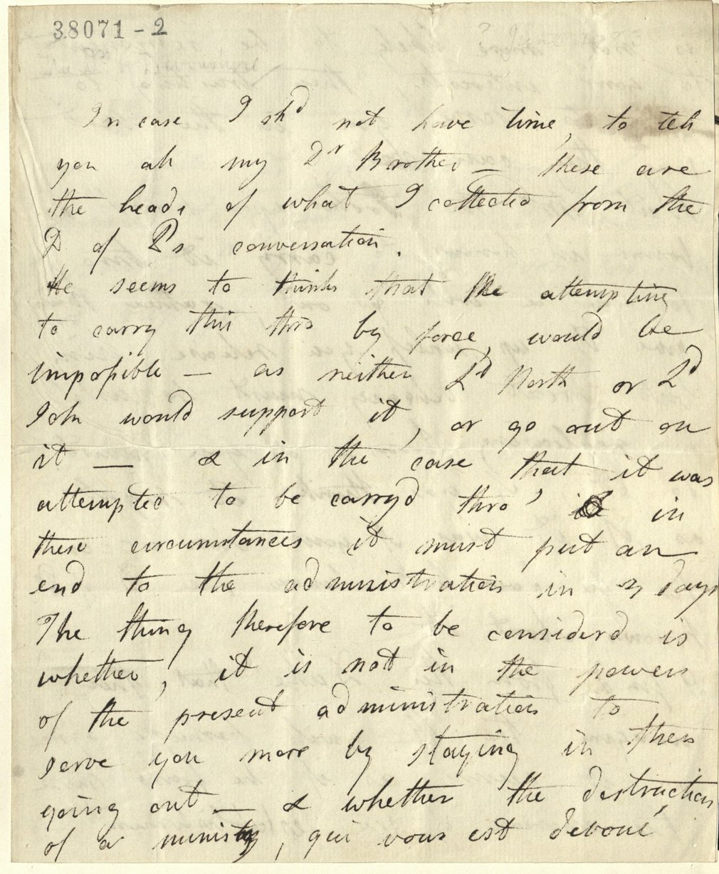 Letter from the Duchess of Devonshire to George, Prince of Wales