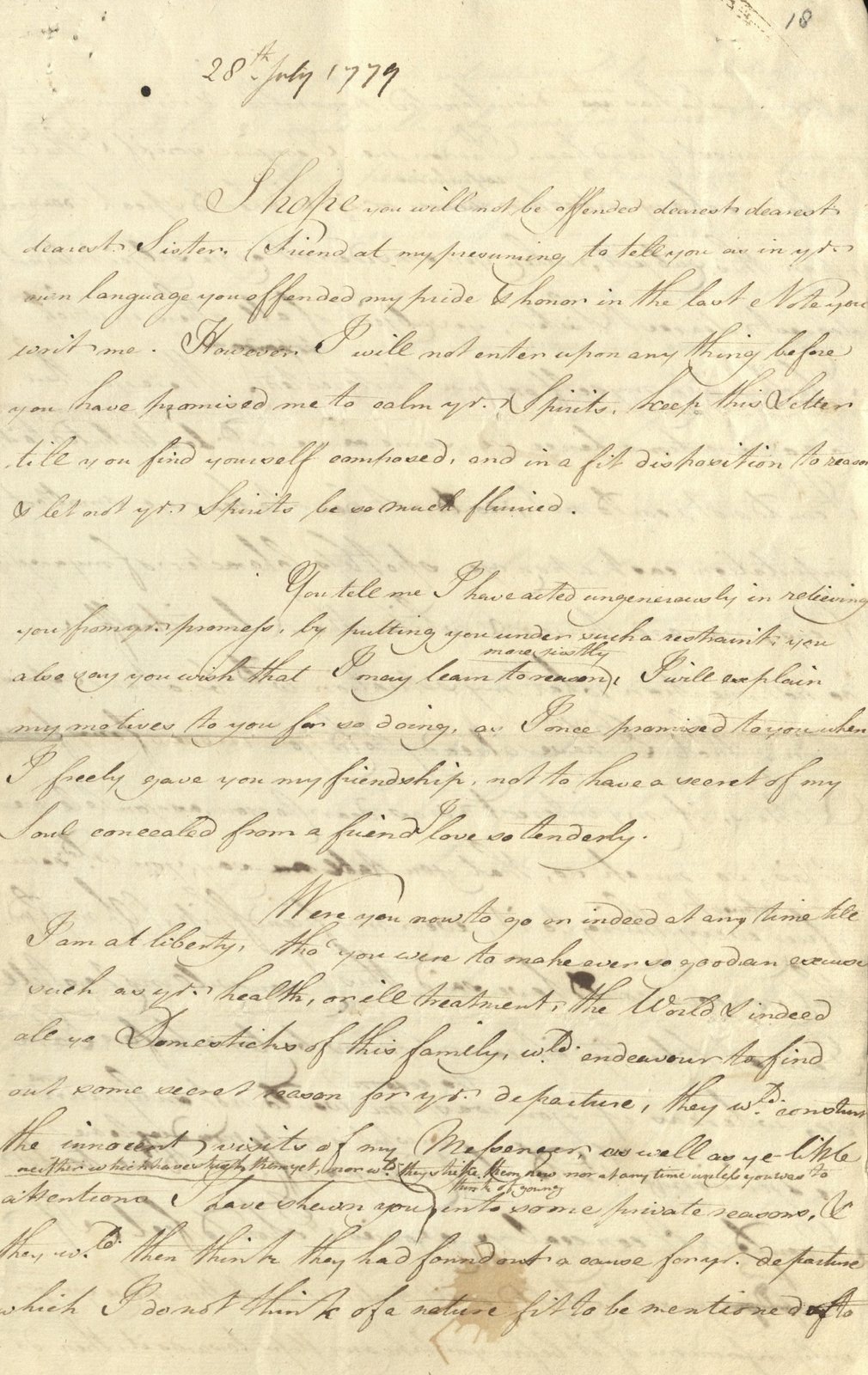 Letter from Mary Hamilton to the Prince of Wales