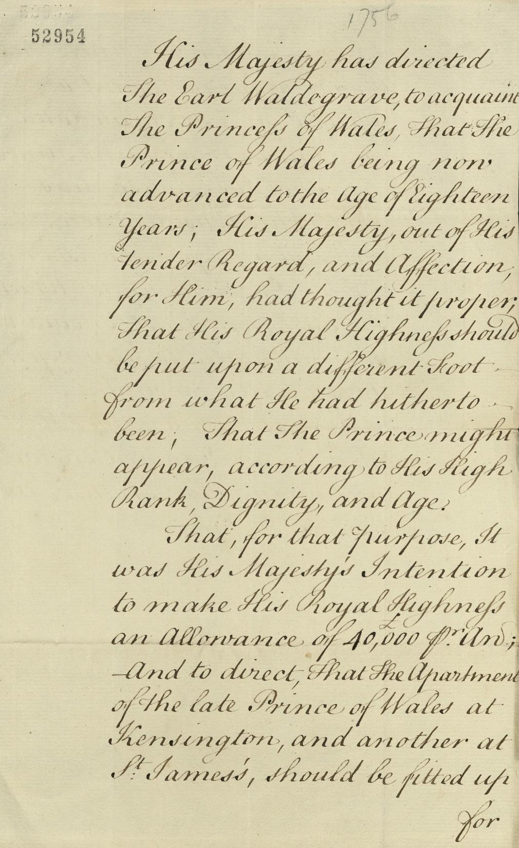 Manuscript letter dated 1756