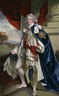 Portrait of George IV standing, in white outfit with blue cape