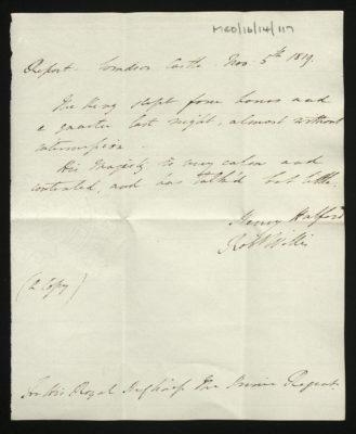 Report of George III's health by Sir Henry Halford, 5 November 1819