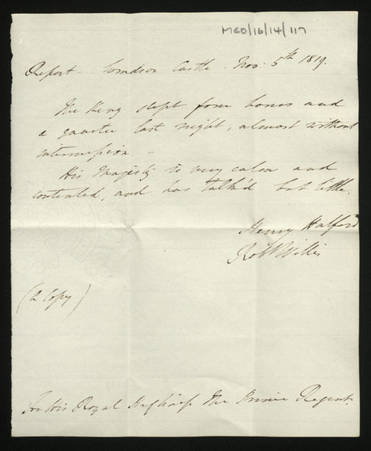 Report of George III's health by Sir Henry Halford, 5 November 1819