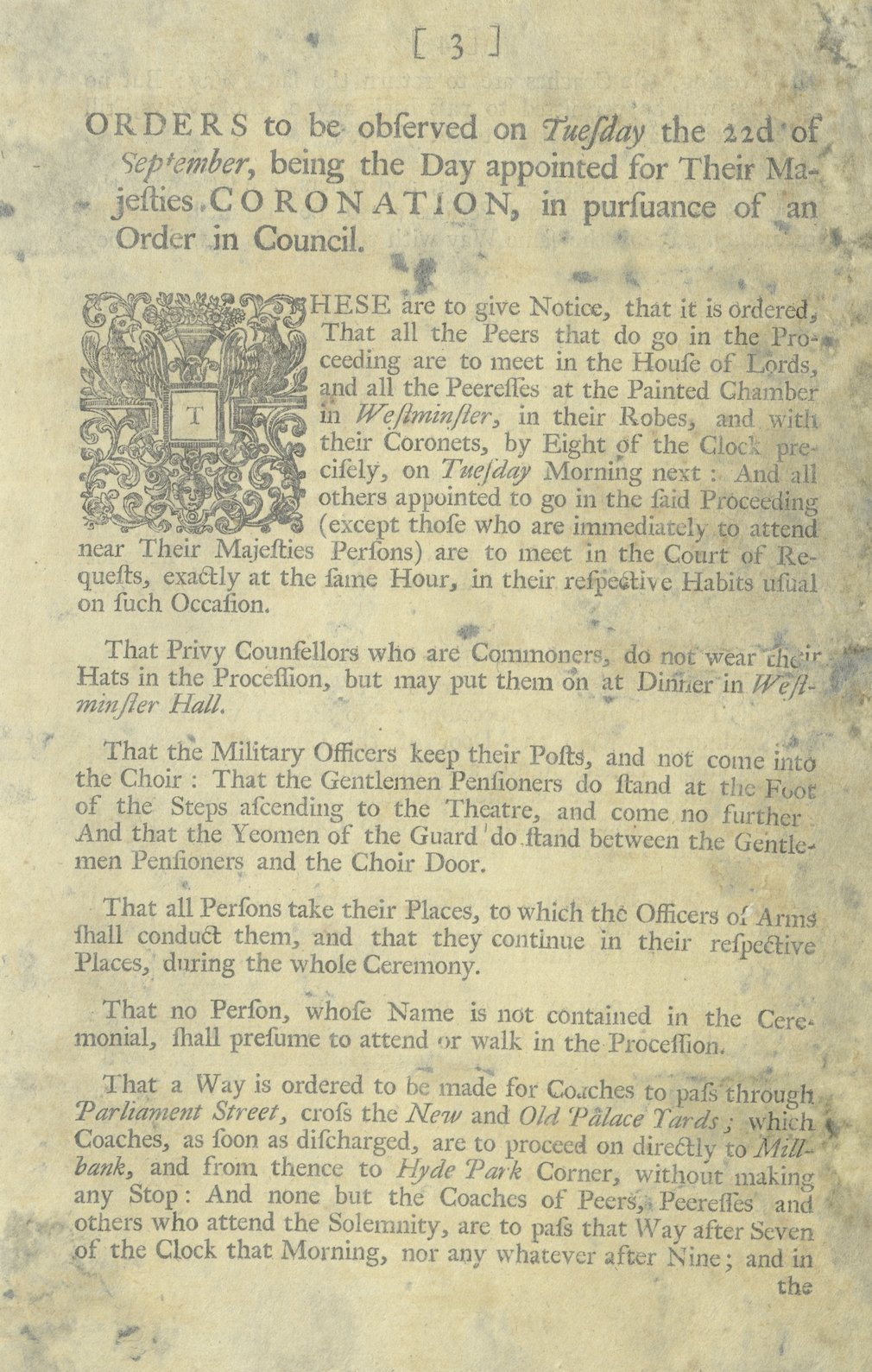Orders to be observed at the coronation of George III, 1761 GEO/MAIN/15765-66
