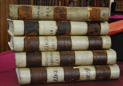 Stack of four Georgian menu books