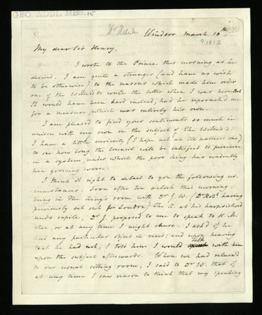 Letter from Dr. William Heberden to Sir Henry Halford, 10 March 1812