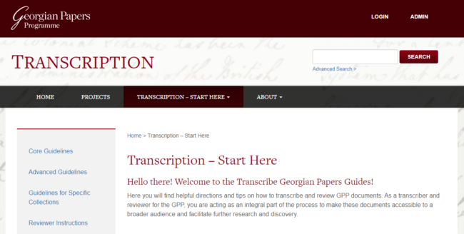 Transcribe Georgian Papers Start Here screen shot