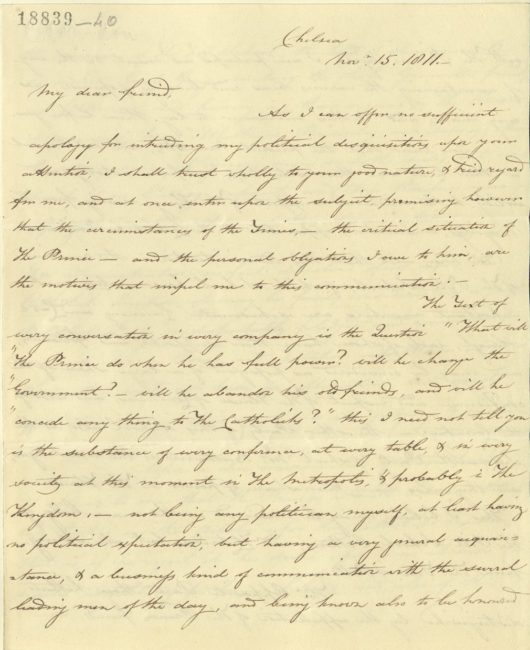 Letter from Colonel James Willoughby Gordon to Colonel John McMahon concerning the Regency, 15 November 1811. RA GEO/MAIN/18839-18842