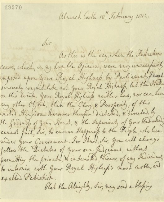 Letter of congratulations from the Duke of Northumberland to the Prince Regent, 18 February 1812. RA GEO/MAIN/19270