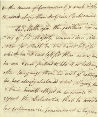 Handwritten letter of resignation from Lord North to George III