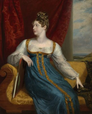 Portrait of Princess Charlotte of Wales seated in blue dress