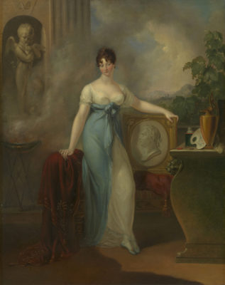 Full length portrait of Princess Mary in a white and blue gown and holding a framed relief of the head of George III