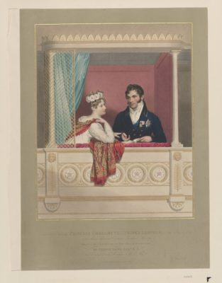 Illustration of Princess Charlotte of Wales and Prince Leopold sitting in their theatre box