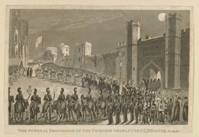Black and white illustrations of Windsor Castle with funeral procession crowd of the public and military