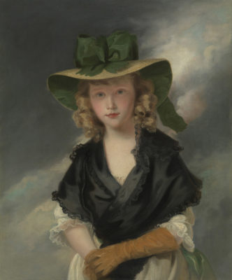 Princess Mary as a young girl wearing a green shawl and straw hat with matching green bow